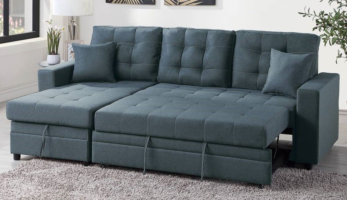 Poundex F6593 2 Pc Latitude Run Venters Blue Grey Polyfiber Sectional Sofa Set Pull Out Sleep Area With Chaise Sectional Sofa Sofa Set Pull Out Bed