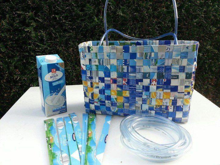 bolso con cartón reciclado de leche!