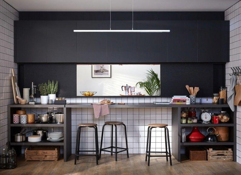 Une cuisine ouverte qui sert de passe-plat cuisine Pinterest