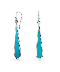 Bling JewelryBling Jewelry 925 Silver Synthetic Turquoise Inlay Long Teardrop Earrings