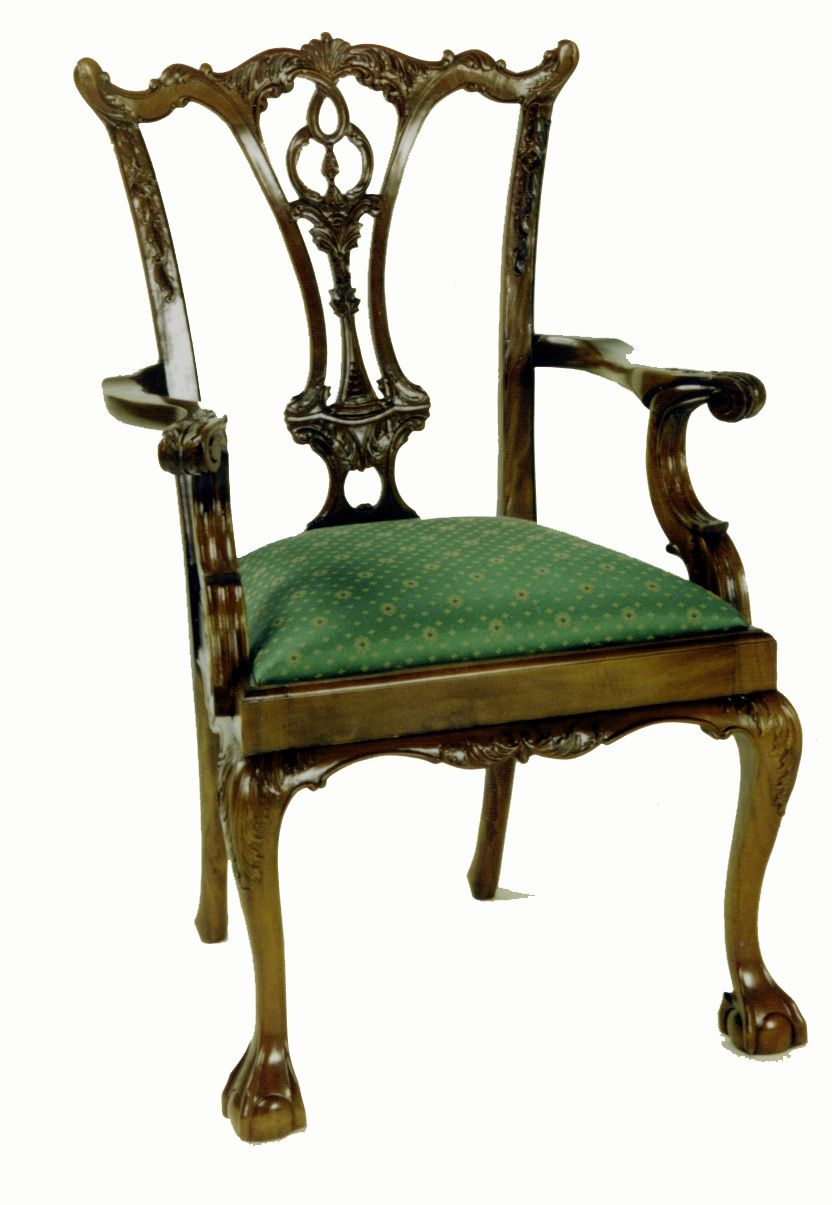 CH 927 Georgian Chipp. AC ~ English Chippendale period high back ...
