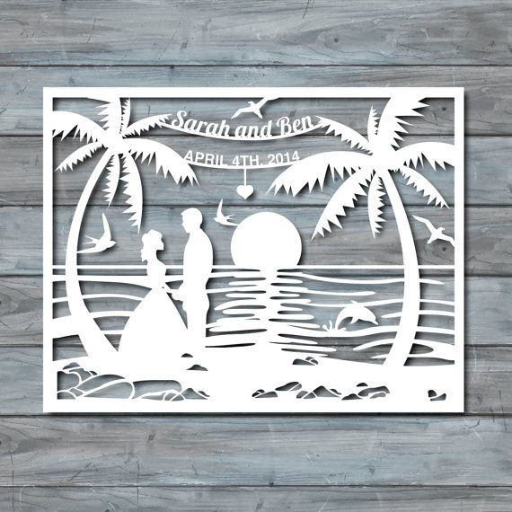 Beach Wedding Paper Cut Template Paper cut Templates by Zavyanne8 ...