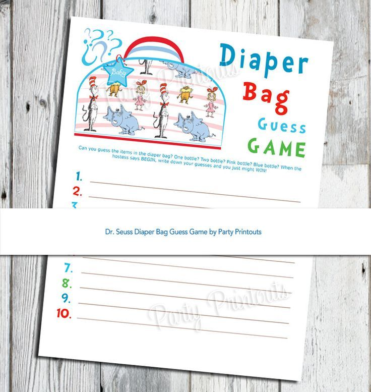 Baby Shower Games With Diapers Part - 20: Dr. Seuss Baby Shower Games | Dr. Seuss Diaper Bag Guess Game, Baby