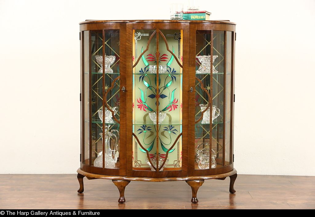 English Art Deco 1930 S Vintage Curio Display Cabinet Stained Glass Light Glass Cabinets Display Stained Glass Light Display Cabinet
