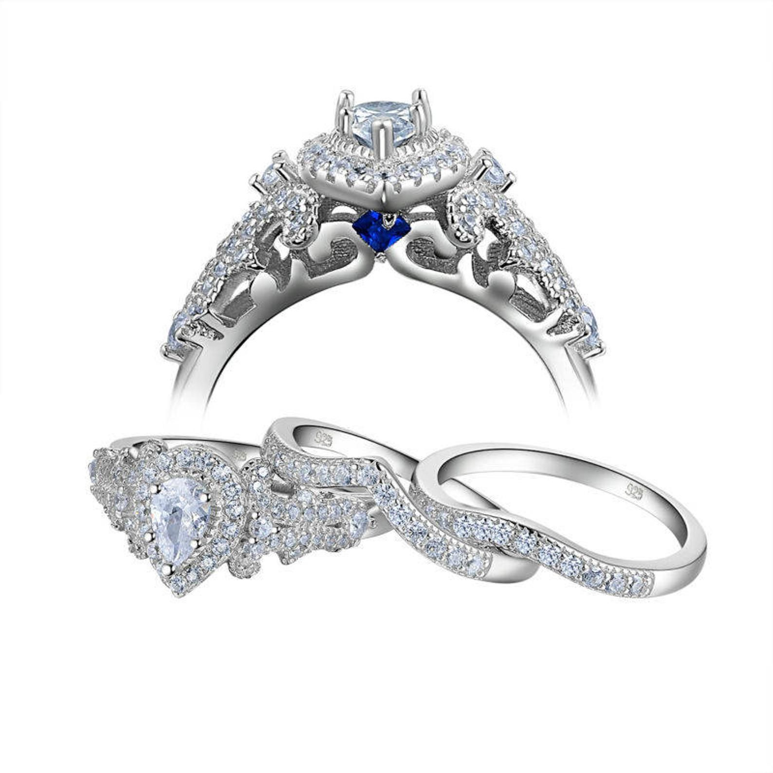 Sparkelforever 2017 New Arrival 925 Sterling Silver Ring Set 1 3 Ct Aaa Cz 3 Pcs Wedding Sets Fashion Jewelry For Women Nr50151 In 2020 Sterling Silver Rings Set Silver Wedding Rings Wedding Rings Engagement