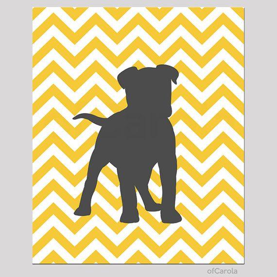 Yellow Gray White Chevron Nursery Print Wall Art Personalized Dog ...