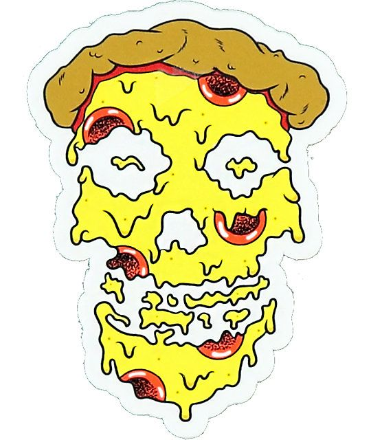 Grab the pizzaslime melty skull pizza face sticker to add some extra personal styling to your