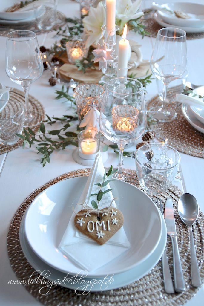 Tischkarten DIY mit Plätzchen und Festliche Tischdekoration für Advent und Weihnachten oder auch die winterliche Hochzeitstafel #herbstdekotisch
