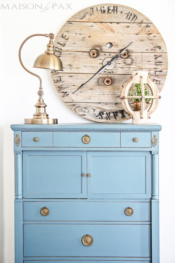 Gorgeous antique dresser painted blue and lightly distressed: best way to paint furniture - no sanding or top coat required | maisondepax.com #chalkpaint #vintage #frenchvintage