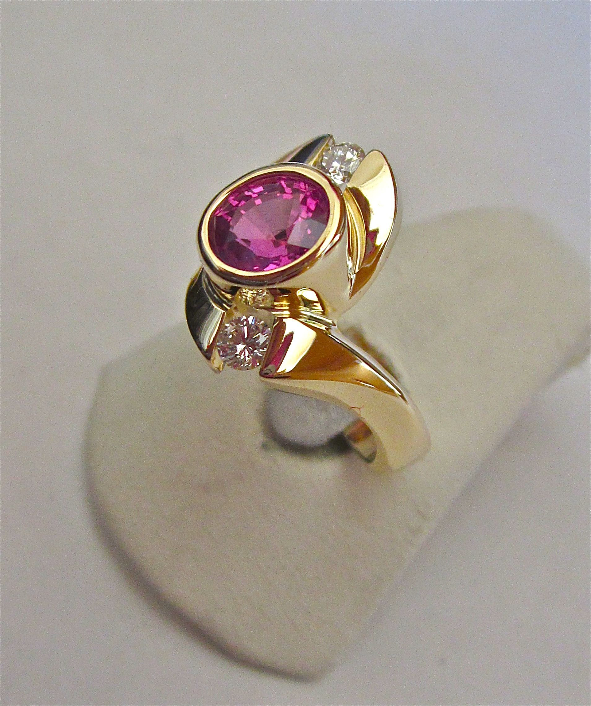 One of a kind Pink Sapphire and diamond ring in 14K gold