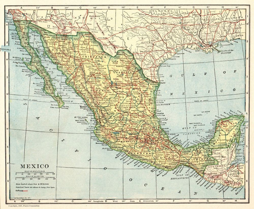 1927 Antique MEXICO Map and BAJA California Map Travel Gallery Wall ...