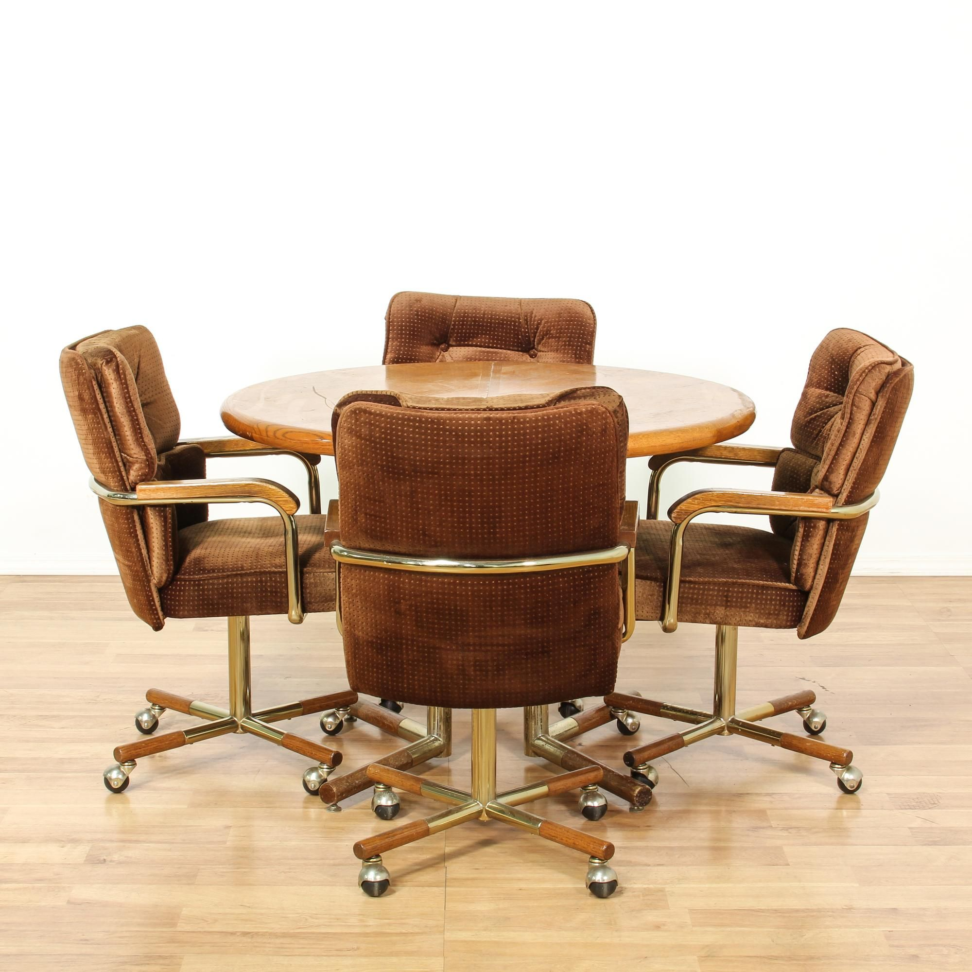 This Mid Century Modern Dining Set Features A Round Dining Table With A Wood Herringbone Table Top And Simple Mid Century Modern Dining Set Chair Rolling Chair