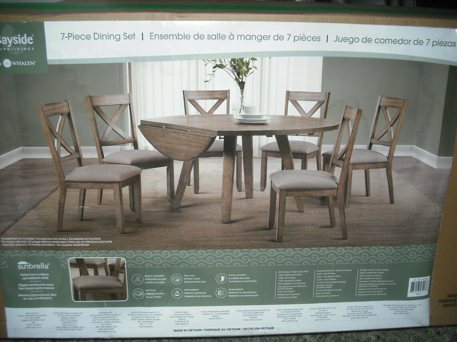 New Costco Whalen 7 Piece Breakfast Dining Table Set Wood Bayside