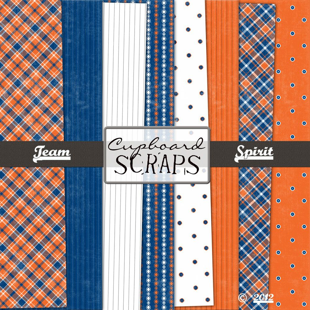 Scrapbook paper etsy - Bronco Scrapbooking Paper Team Spirit Digital Paper Pack Blue And Orange 4 50 Via Etsy