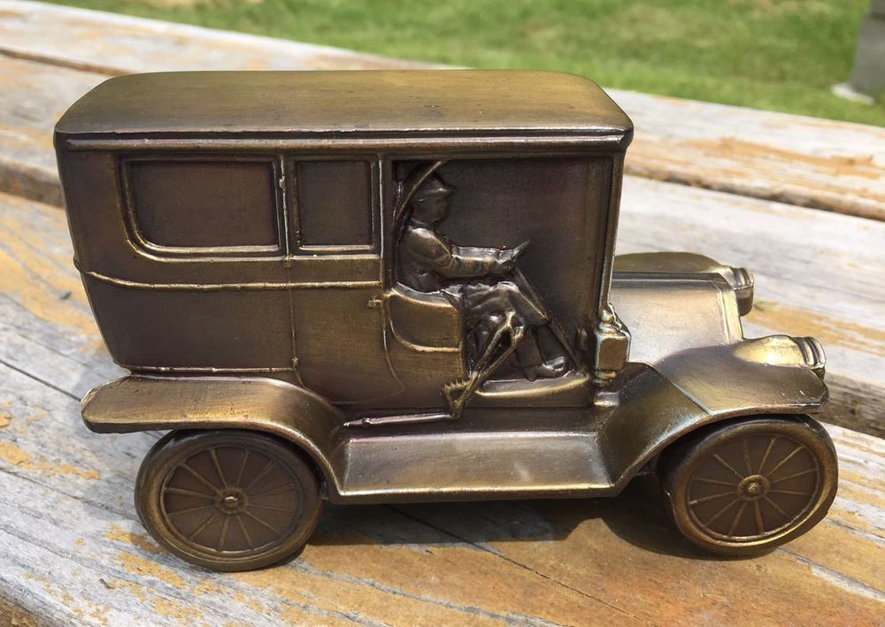 VINTAGE BANTHRICO OLD METAL 1908 CAR COIN BANK, Made In USA | eBay ...