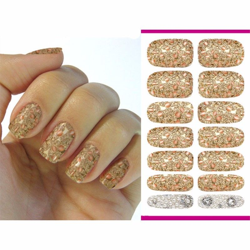 2016 Nail Art Stickers Metallic Petals Gem Pearl Series Decor Nail Decal Manicure Styling Tools Foil Decals