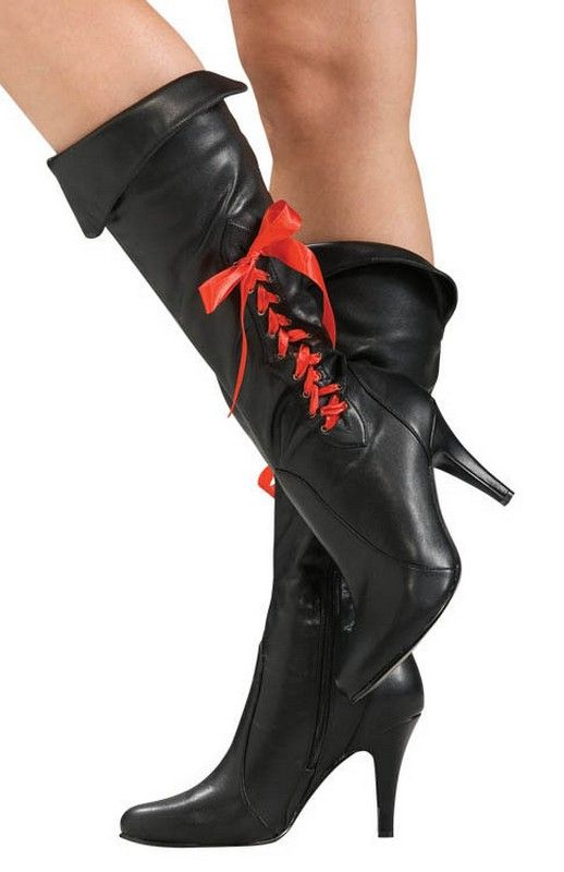 78e21556254 Womens Halloween Costume Pirate Boots $36.07 black high heel boots with  ribbon lace up sides.