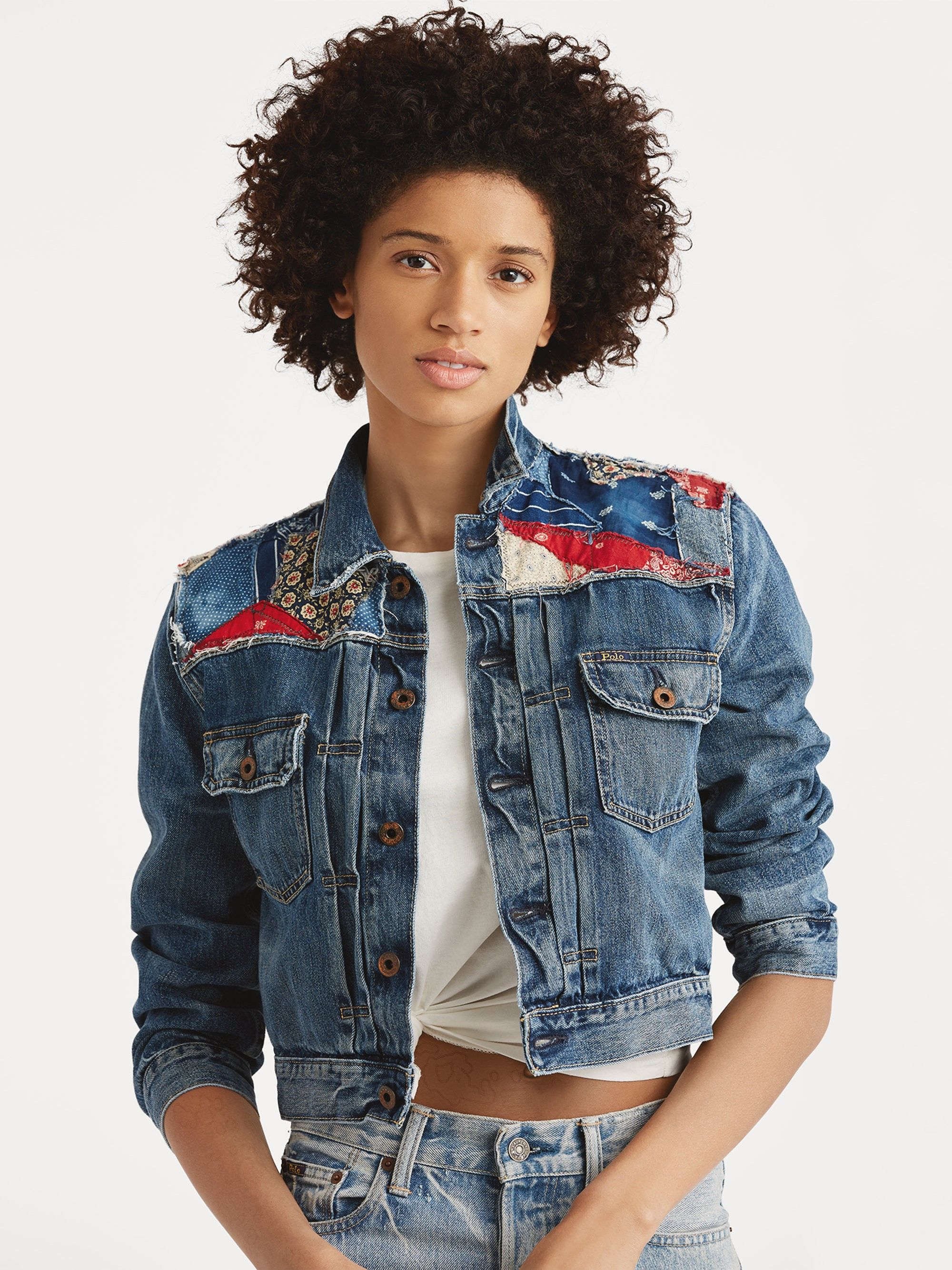 94a5adc954b Ralph Lauren Cropped Patchwork Trucker Denim Jacket - Medium Indigo X-Small