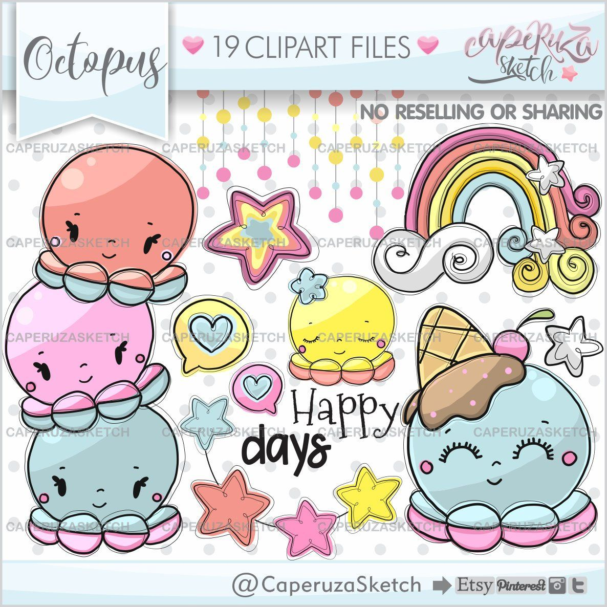 small resolution of octopus clipart octopus graphics happy days commercial use etsy