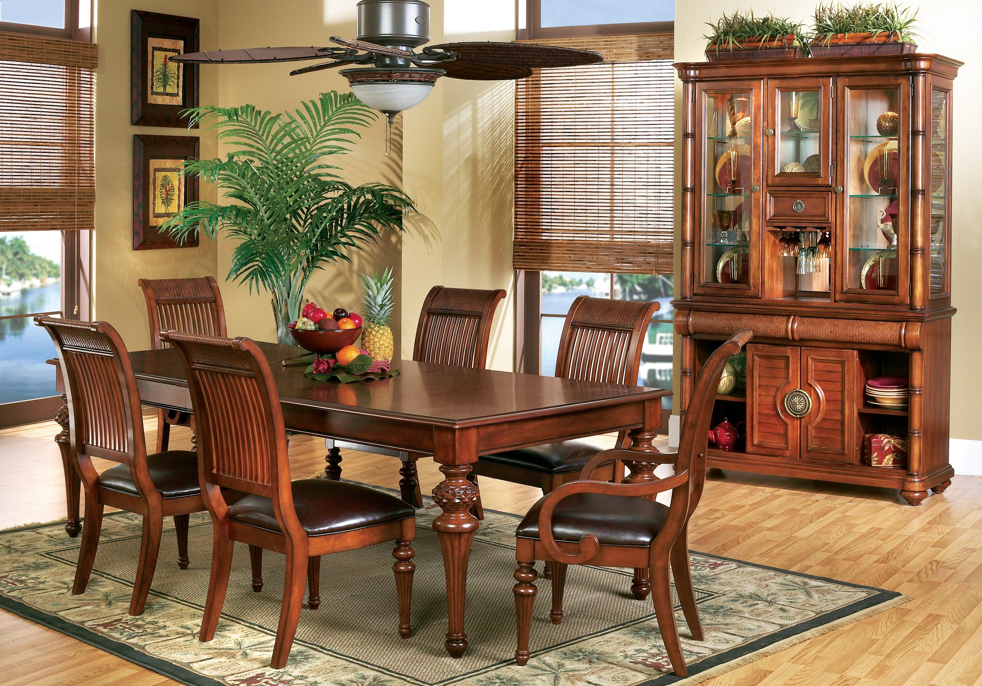 Cindy Crawford Home Key West Tobacco 5 Pc Rectangle Dining Room With Slat Chairs 999 99 5pc Affordable Dining Room Sets Dining Room Sets Cindy Crawford Home
