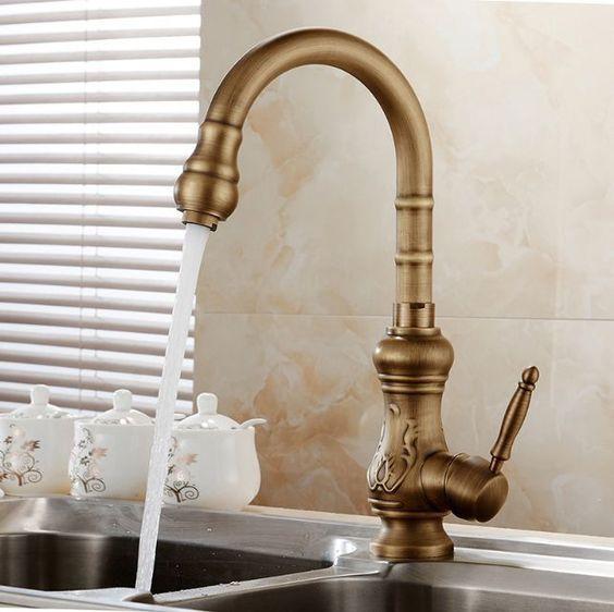Antique Brass Swivel Spout Kitchen Faucet Bronze Sink Mixer Tap