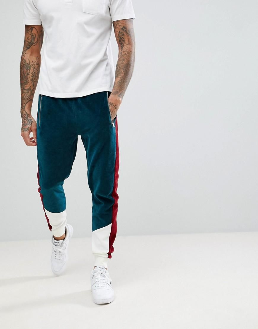 e43f9bbbee4  Spring  AdoreWe  ASOS -  ASOS ASOS Skinny Joggers In Velour With Color  Blocking Panels - Green - AdoreWe.com