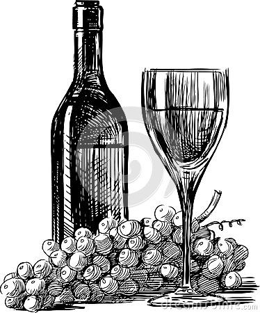 Wine grapes vector drawing bottle glass grape for How to draw on wine glasses
