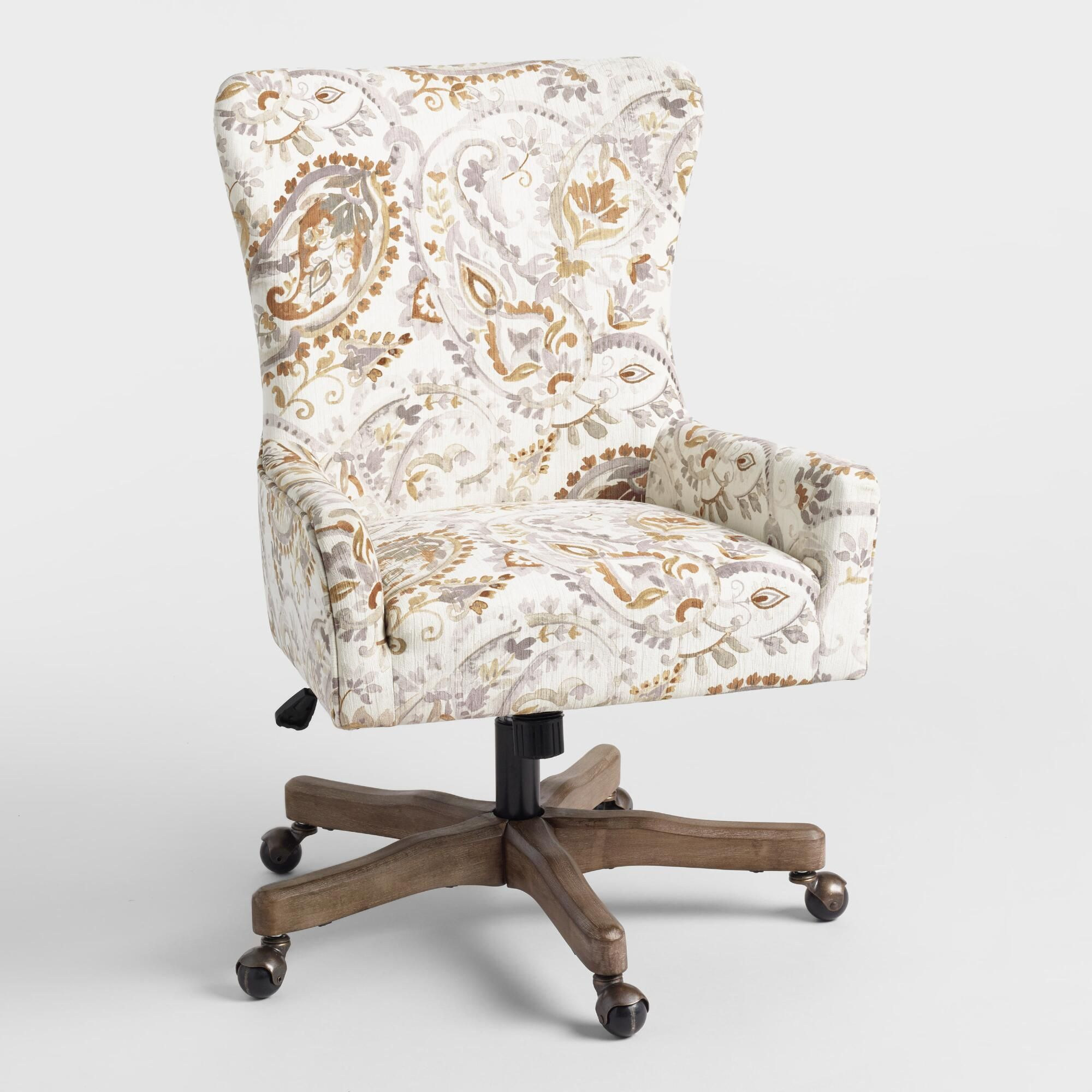 Brown And Gray Paisley Trystan Upholstered Office Chair