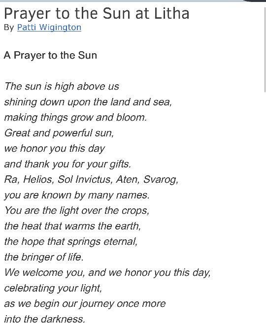 Lithia Sun Prayer  Blessed Be