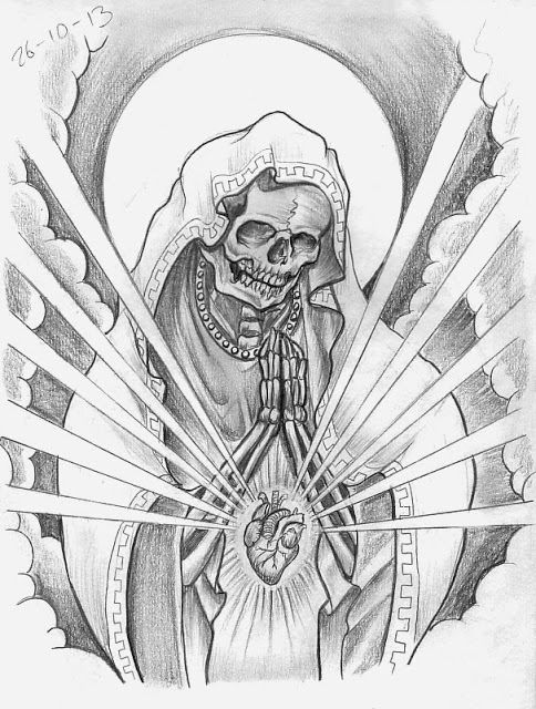 Skeleton Virgin Mary With Anatomical Heart Tattoo Ideas Tattoos