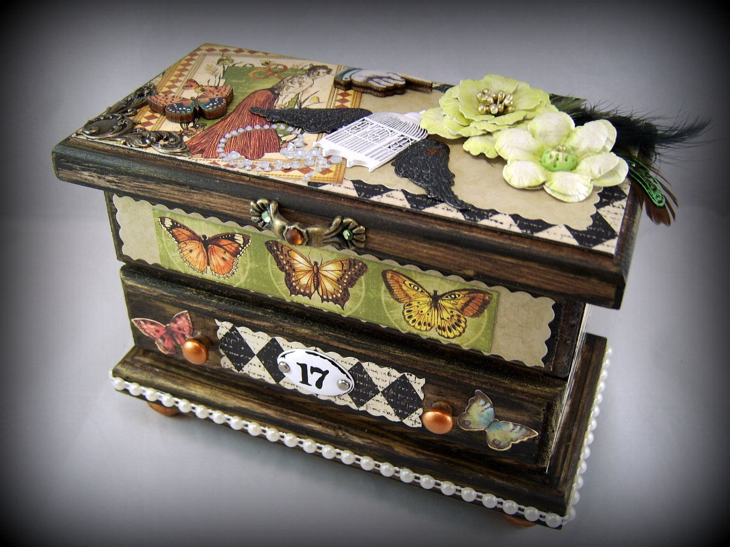 Curious Jewelry Box Altered Art Mixed Media 3D collage Jewelry