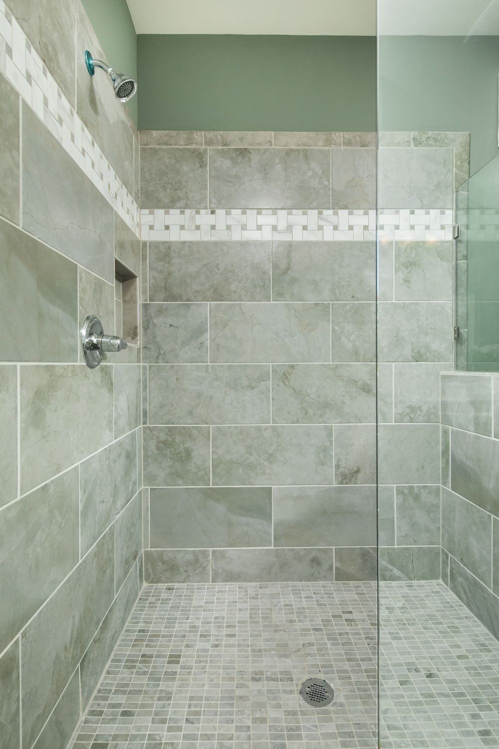 This Shower Had A 12 X 24 Porcelain Wall Tile With A Basket Weave Accent Band This Is A Huge Master Shower W Shower Wall Tile Master Bath Shower Master Shower