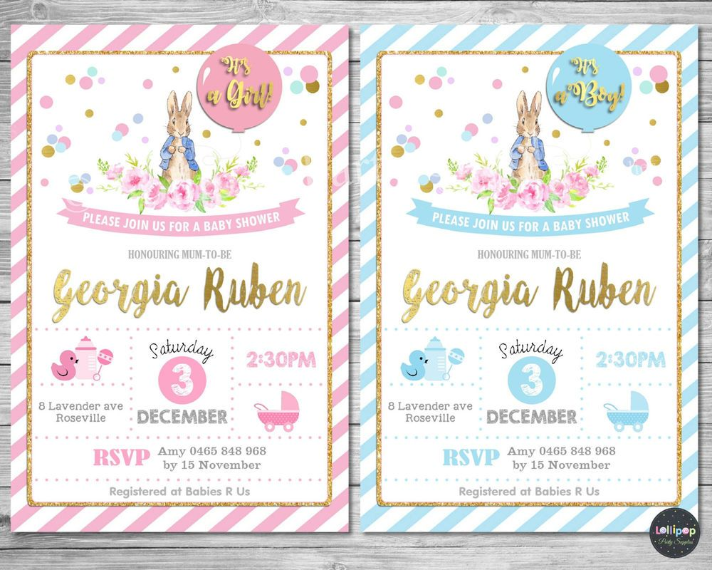 Peter rabbit baby shower personalised invitation invite card pink ...
