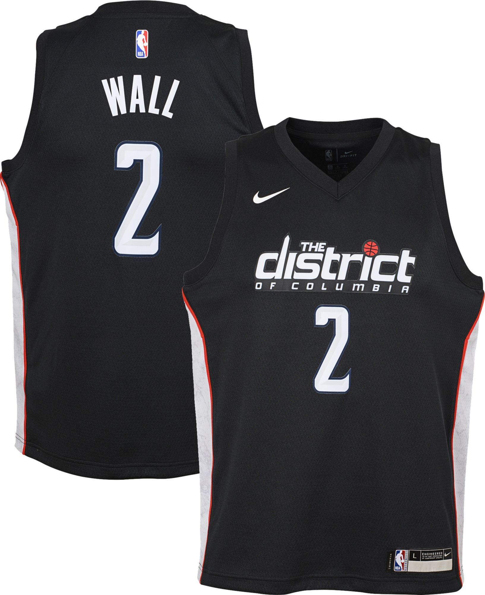 brand new f4f4f 3d50a Nike Youth Washington Wizards John Wall Dri-FIT City Edition ...
