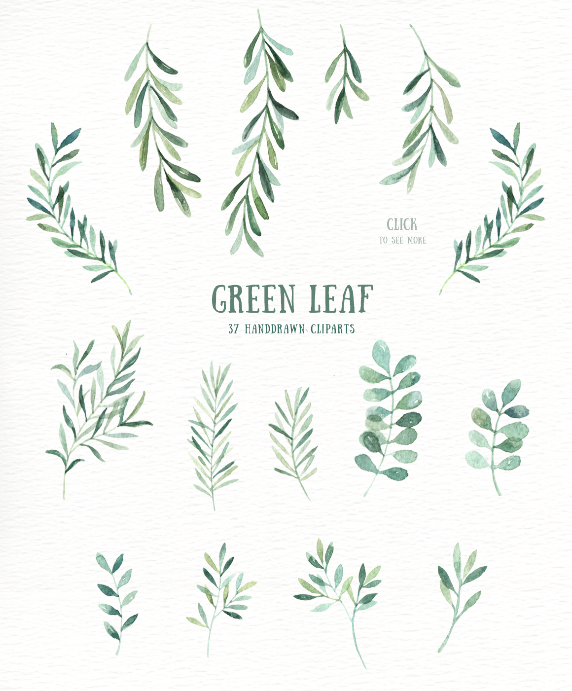 Leaf watercolor. Green clipart by everysunsun