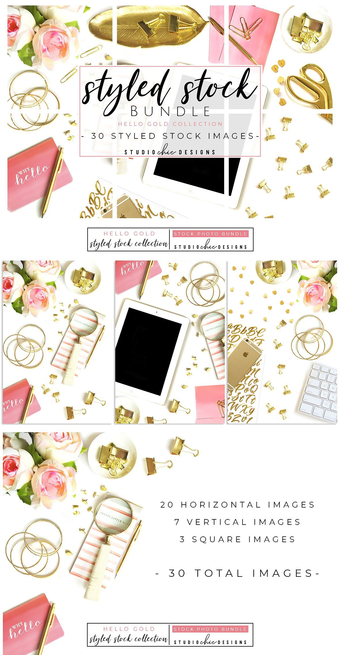 30 stock images! Styled Stock Bundle Pink & Gold  by Studio Chic Designss on @creativemarket
