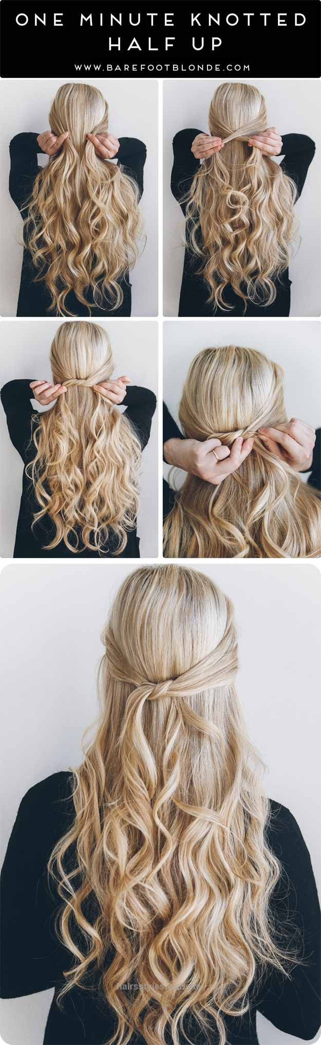 Neat Best 3 Minute Hairstyles – 3 Minute Knotted Half Up – Quick