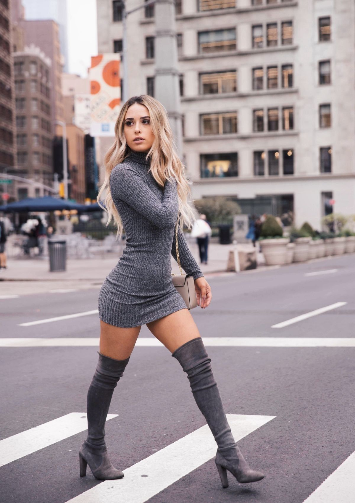 650e220cfd5 dress and thigh high boots - fall fashion.