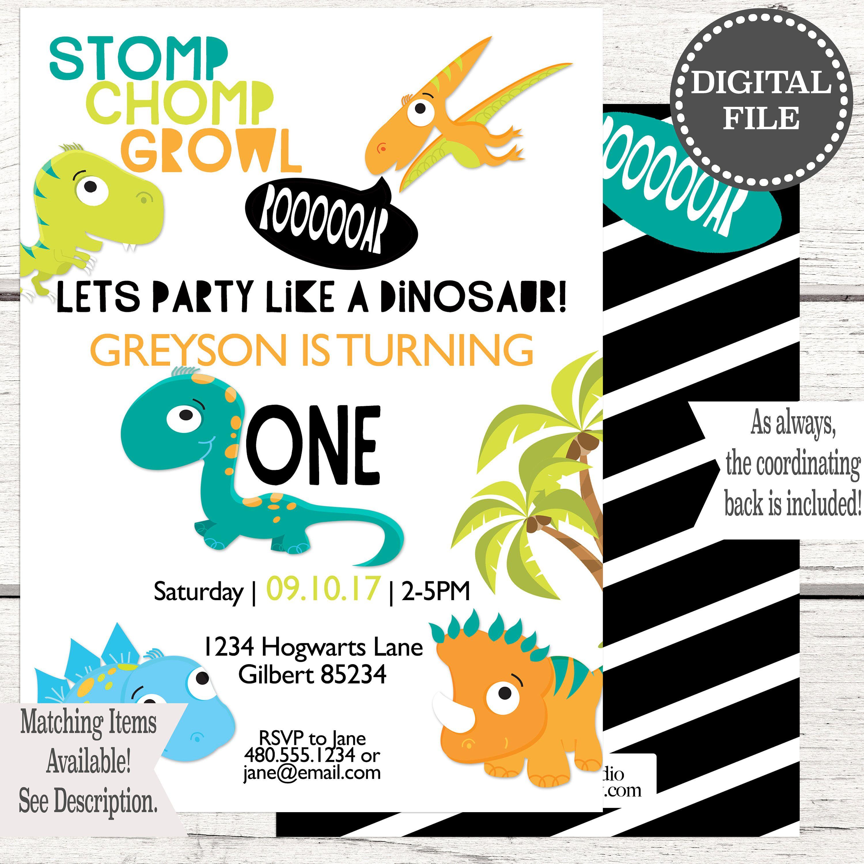 Dinosaur Birthday Invitation | Boy Birthday Invitation | First ...