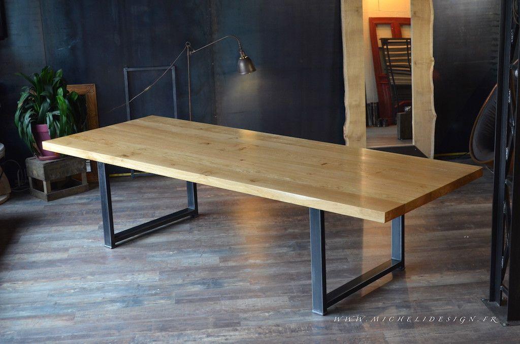 Table M Chêne Massif Acier Brut Table à Manger Pinterest - Table pied metal plateau chene pour idees de deco de cuisine