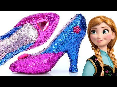 797c1382fb4 DIY Frozen Anna Super Glitter Play Doh High Heels Disney princess ...
