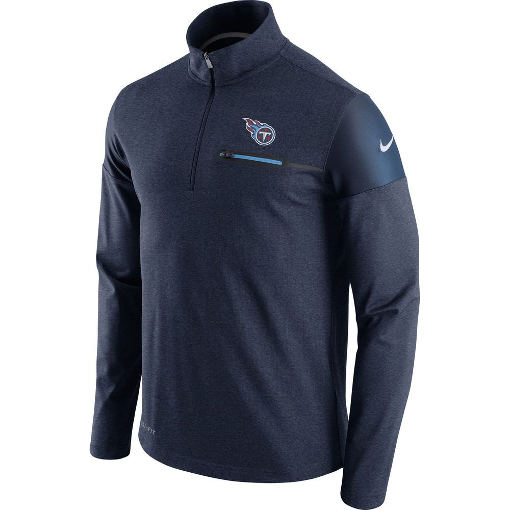 Men's Tennessee Titans Nike Navy Elite Coach Half-Zip Performance Jacket
