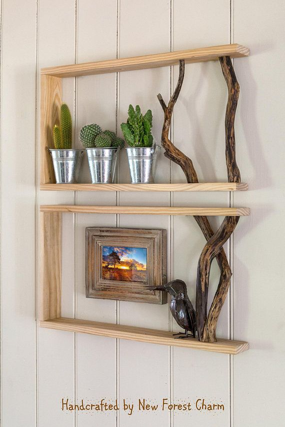 Box Shelf Duo Wall Art Reclaimed Wood Shelf Tree Branch Unique