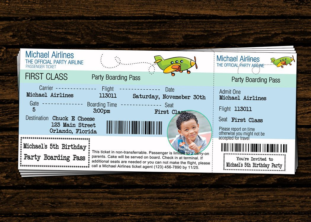Custom Airline Ticket Airplane Birthday Party Photo Invitations   DIY  Printable File  Plane Ticket Invitation Template