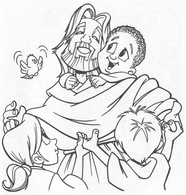 PARA COLOREAR: Jesús con los niños para colorear | Escuela Dominical ...