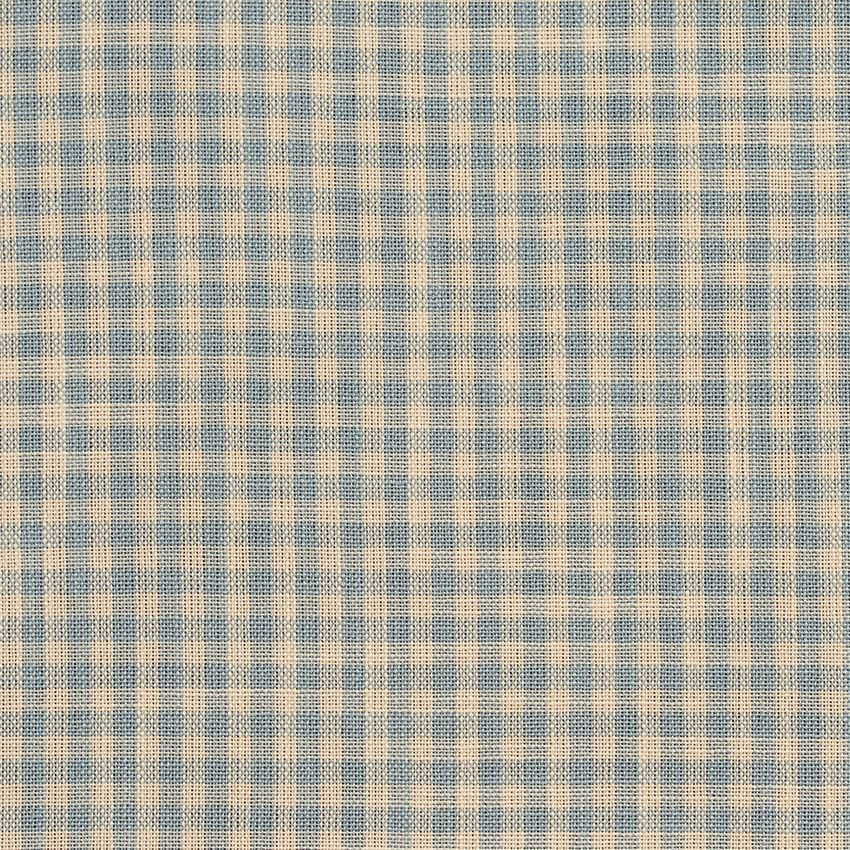 Cornflower Gingham Beige And Blue Check Tweed Drapery And