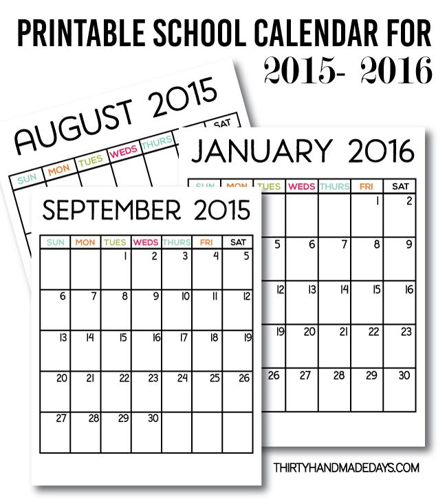 school year printable calendar