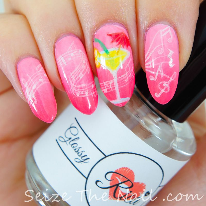 Gradient with music and a drink! | Nails | Pinterest | Nail design ...