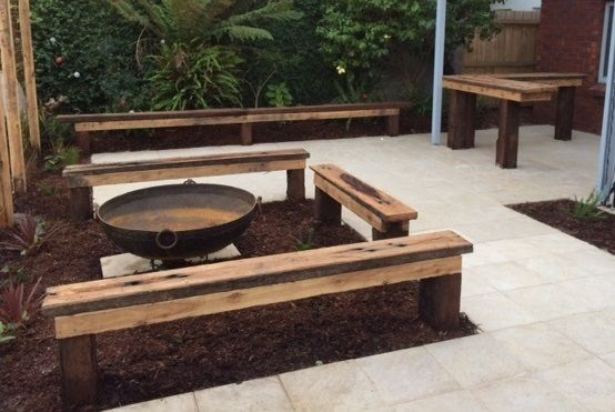 Railway Sleeper Seating Around Fire Pit-rustic Sleeper Bar