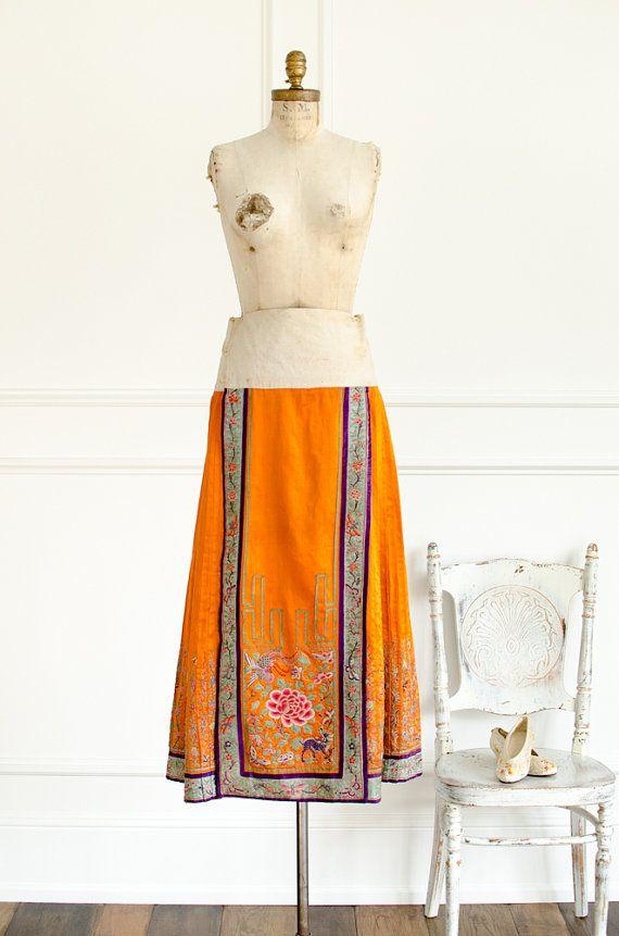 Antique Chinese Silk Orange Hand Embroidered Peking Skirt Wrap Skirt Pleated Han Skirt